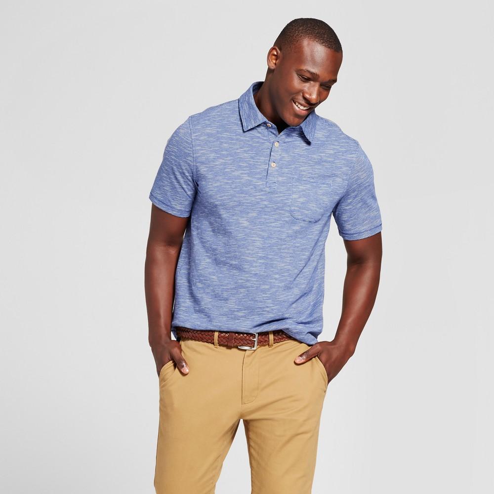 Mens Standard Fit Short Sleeve Solid Jersey Polo Shirt - Goodfellow & Co Blue Xxl