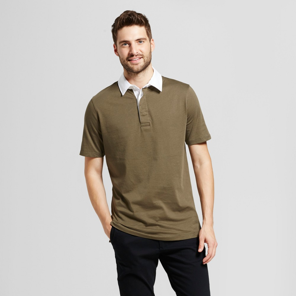 Mens Standard Fit Short Sleeve Placed Rugby Polo - Goodfellow & Co Olive (Green) S