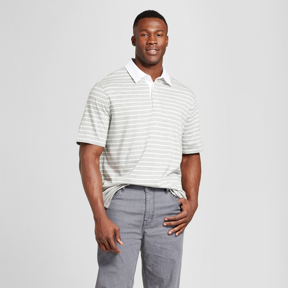 Mens Big & Tall Standard Fit Short Sleeve Rugby Polo - Goodfellow & Co Light Gray Stripe 4XBT