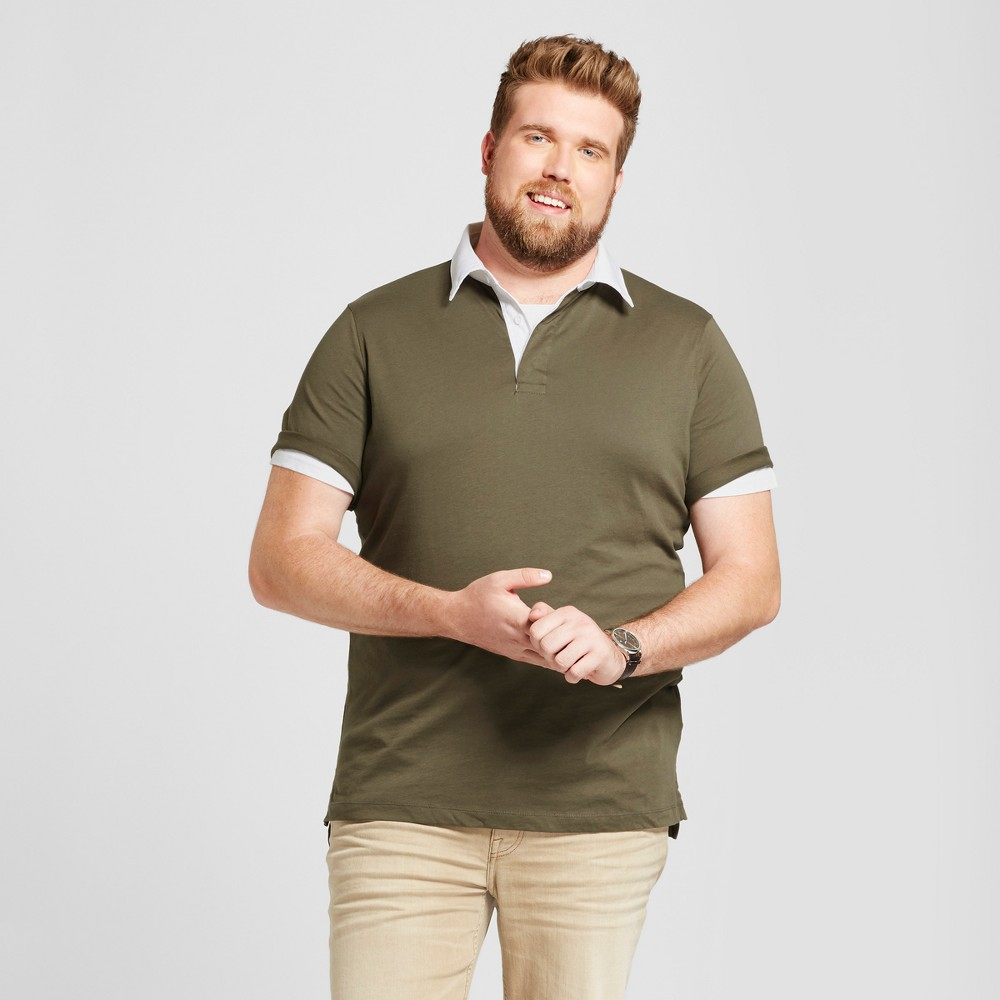 Mens Big & Tall Standard Fit Short Sleeve Rugby Polo - Goodfellow & Co Olive (Green) LT