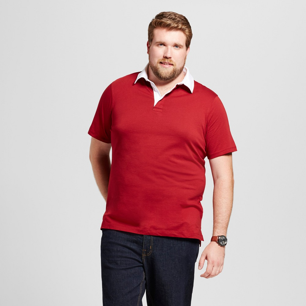 Mens Big & Tall Standard Fit Short Sleeve Rugby Polo - Goodfellow & Co Red MT