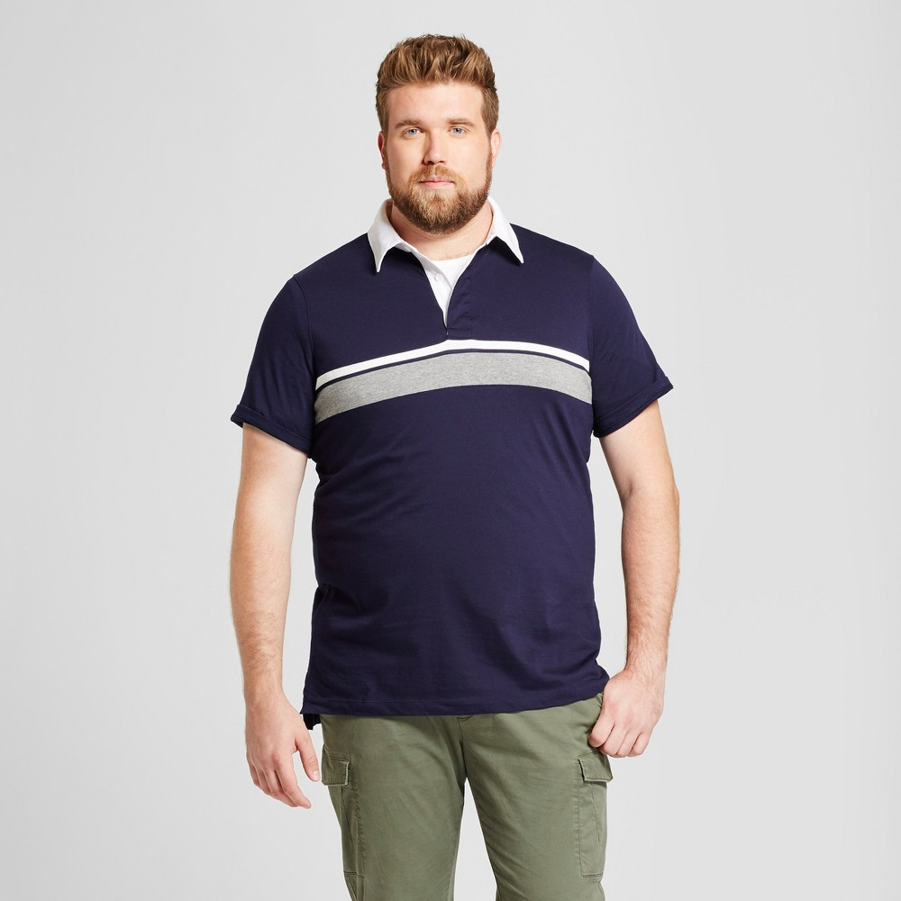 Mens Big & Tall Standard Fit Short Sleeve Rugby Polo - Goodfellow & Co Navy Stripe Xlt, Blue