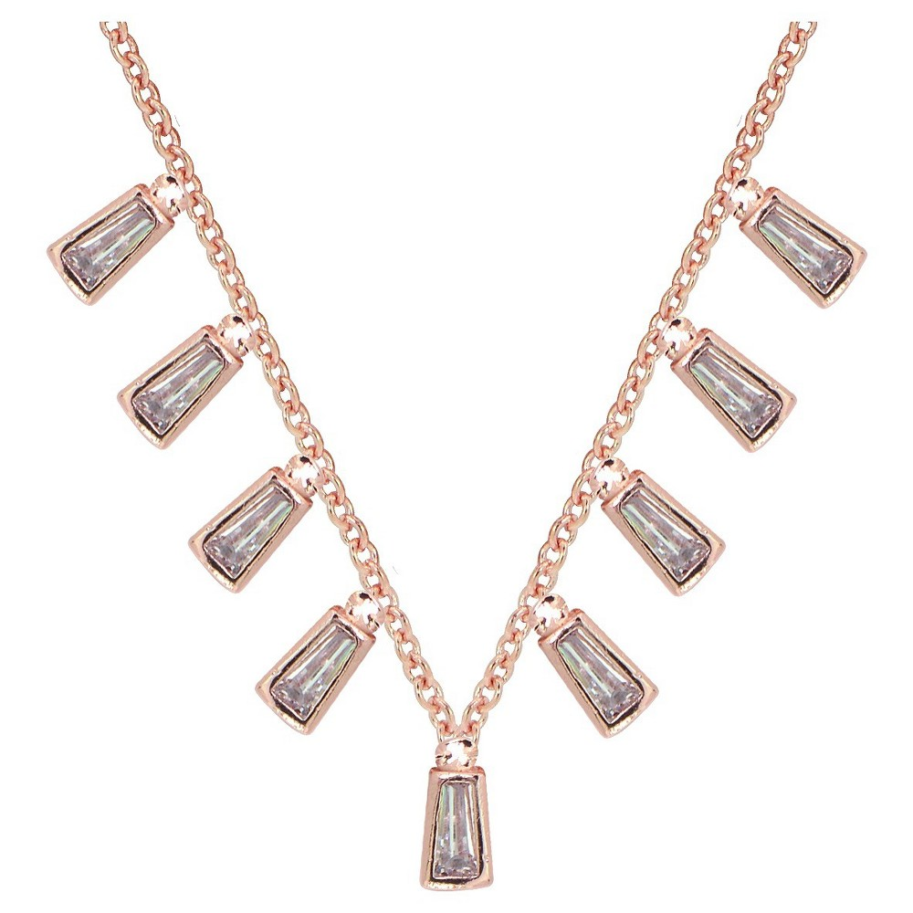 Womens Rose Plated Cubic Zirconia Baguette Drop Necklace - Clear - 18