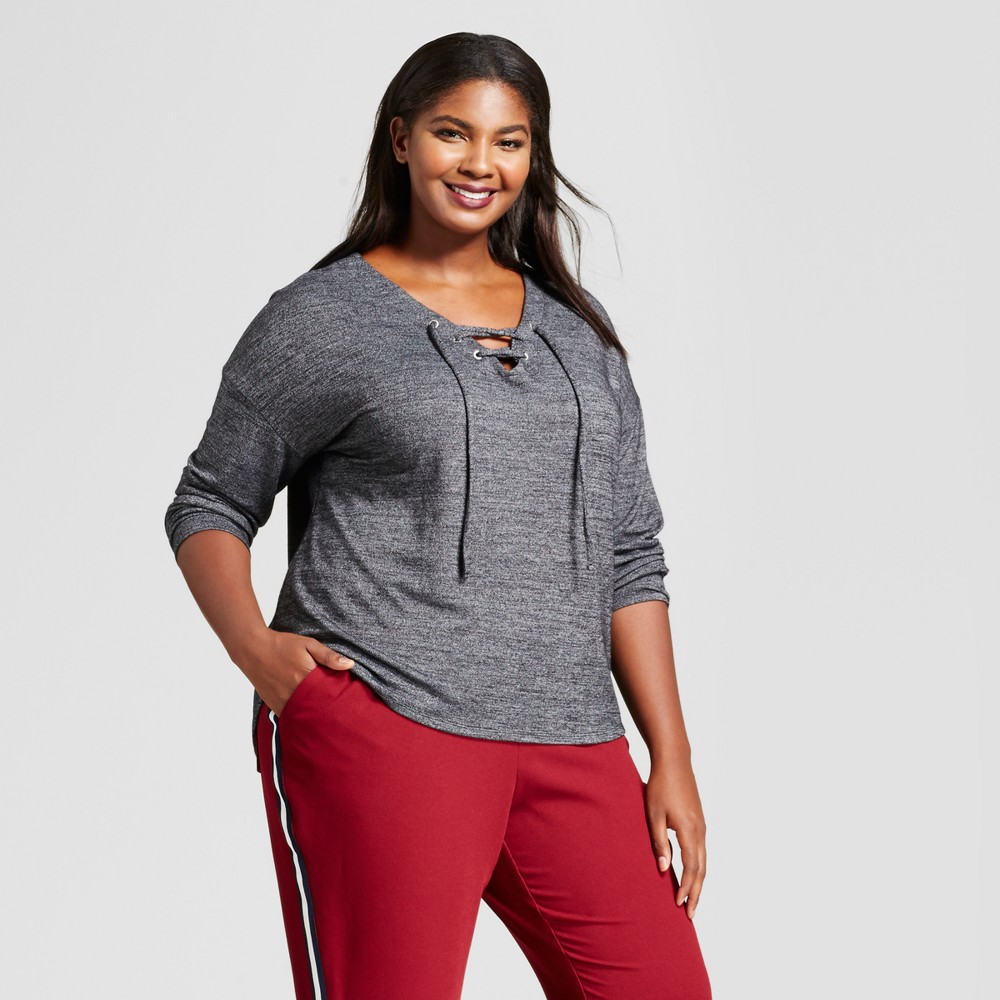 Womens Plus Size Long Sleeve Lace Up Top - A New Day Dark Gray 4X
