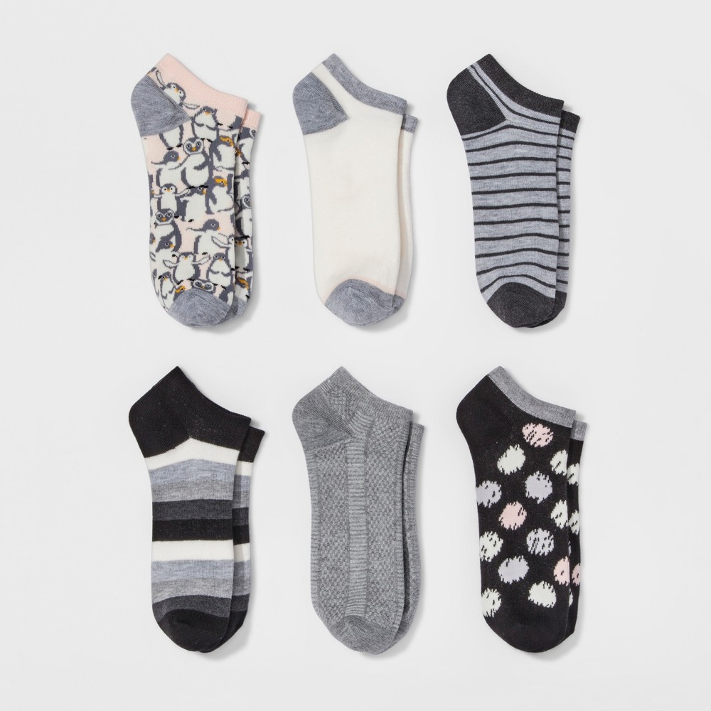 Womens Low-Cut Socks 6pk - Xhilaration Penguin Multi One Size, Peche