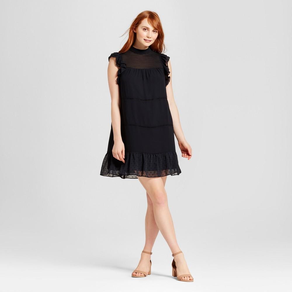 Womens Chiffon Mini Dress - Who What Wear Black Xxl