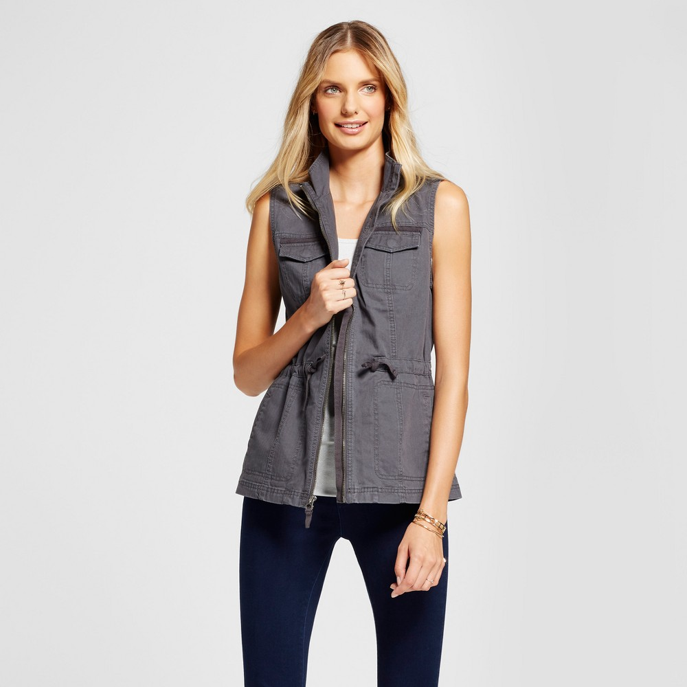 Womens Military Vest - A New Day Gray XL