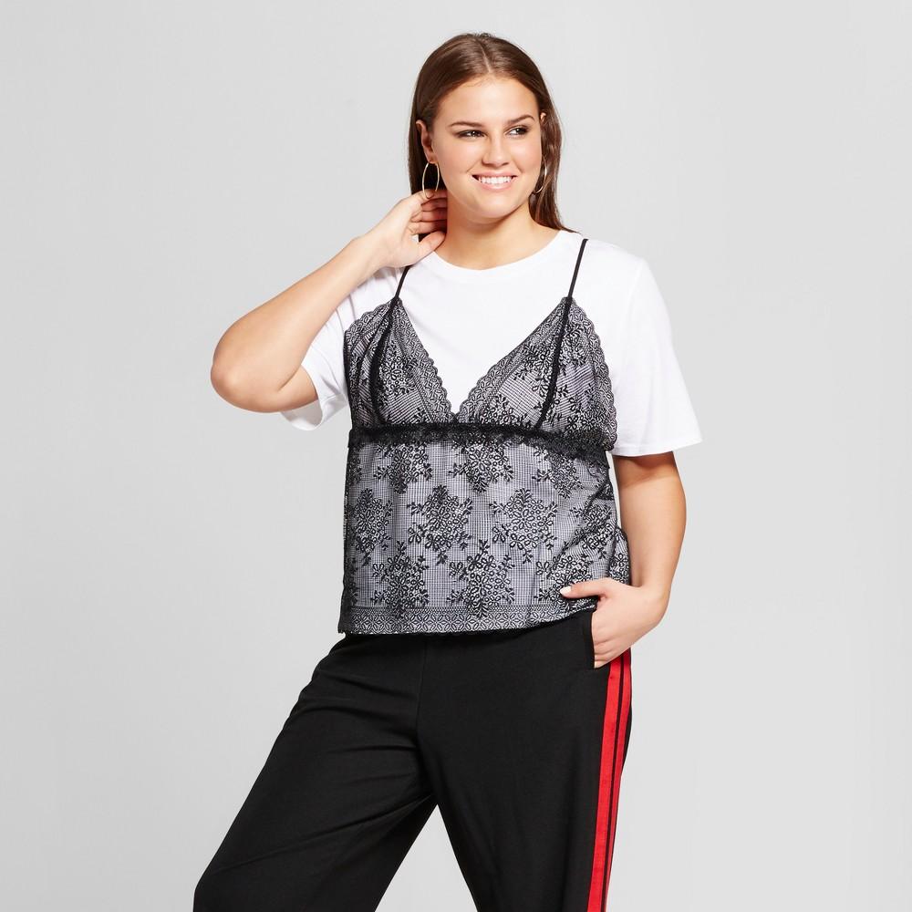 Womens Plus Size Lace Mix T-Shirt - Who What Wear White/Black X
