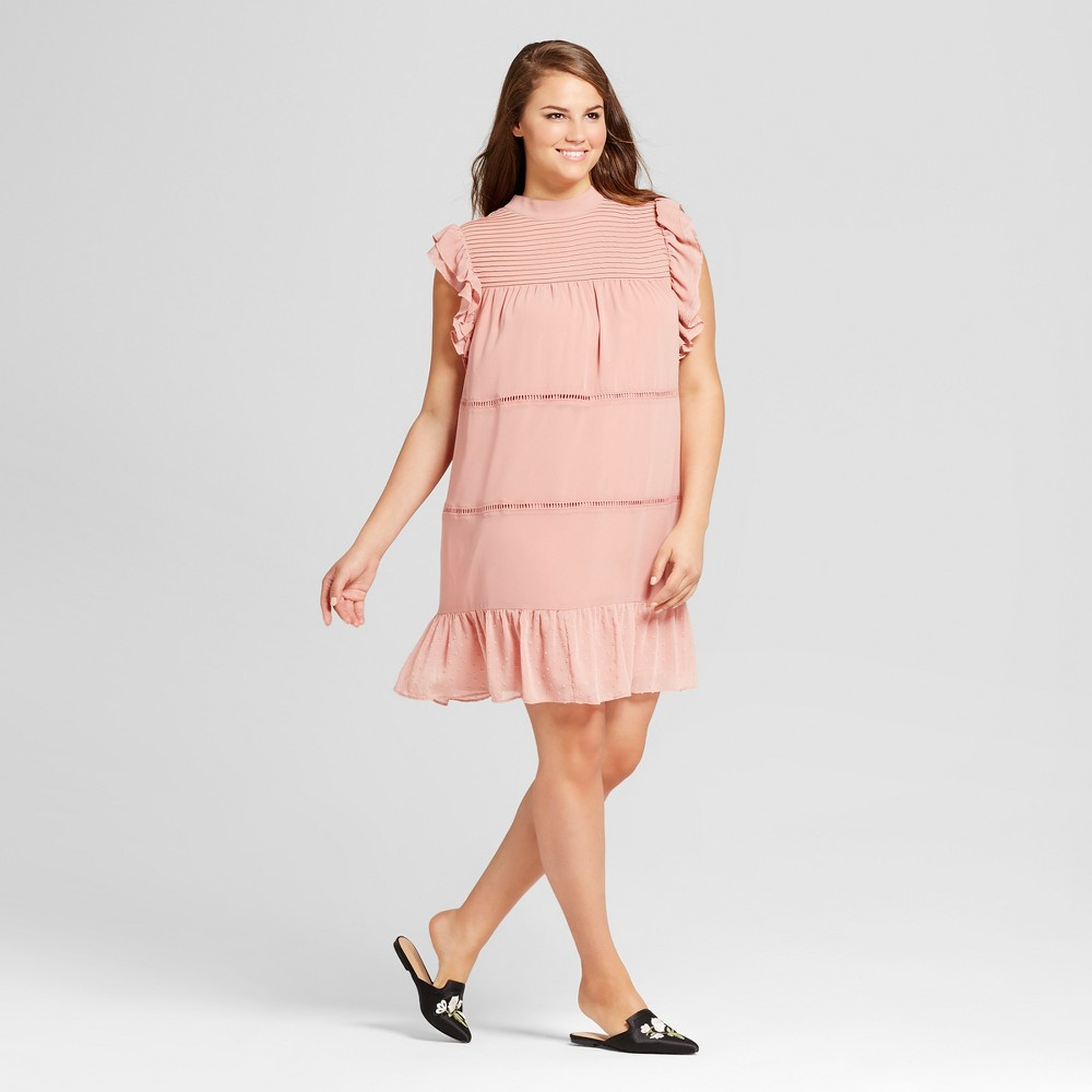 Womens Plus Size Chiffon Mini Dress - Who What Wear Pink 1X