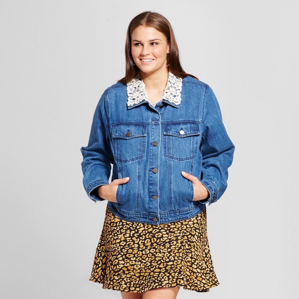 Womens Plus Size Aviator Denim Jacket - Who What Wear Medium Wash X, Blue