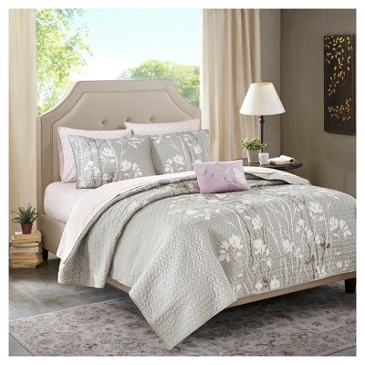 Gray Holly Printed Quilt Set (Queen)8pc