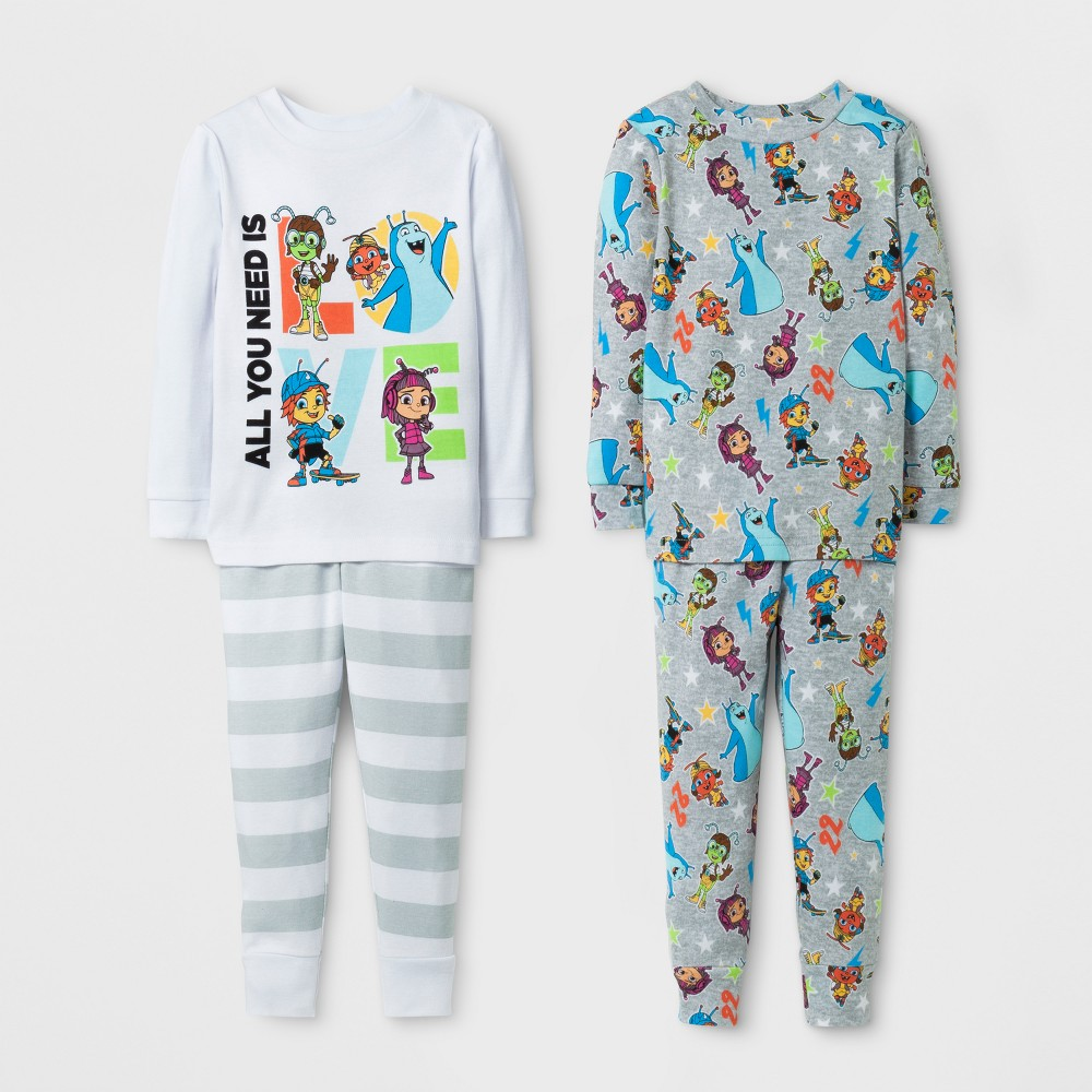 Baby Boys Beat Bugs 4pc Cotton Pajama Set - White 4T