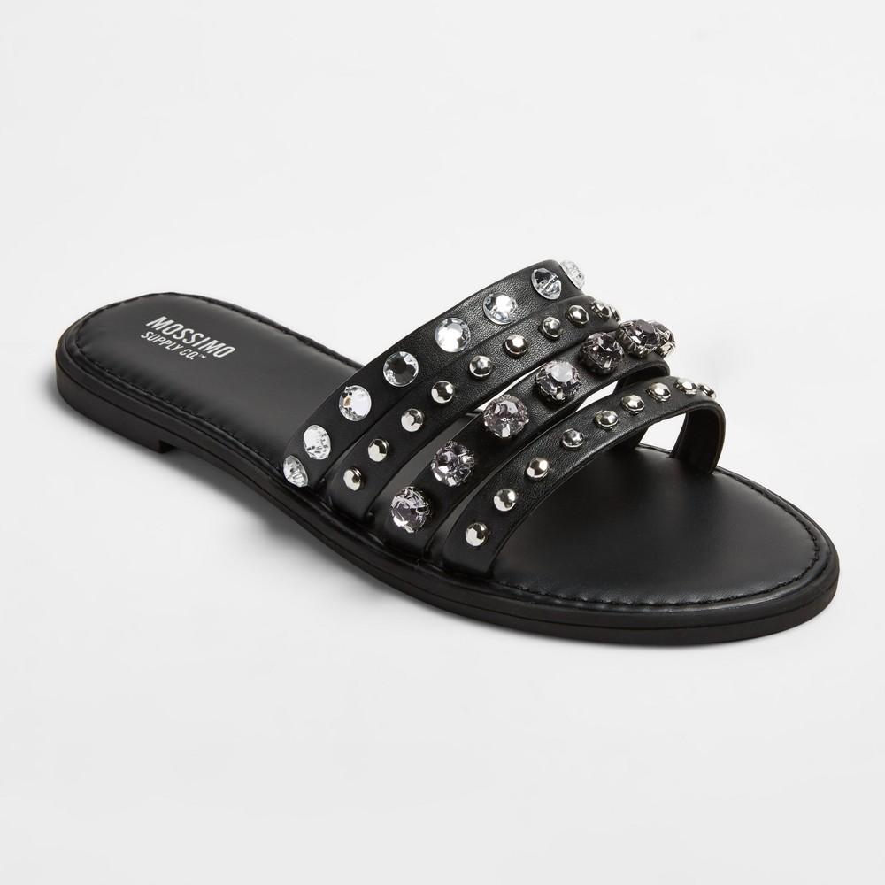 Womens Liv Multiple Band Rhinestone Slide Sandals - Mossimo Supply Co. Black 8.5