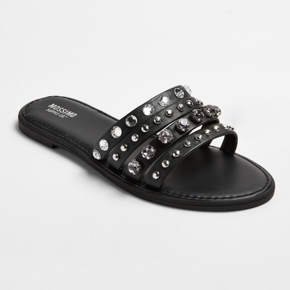 Womens Liv Multiple Band Rhinestone Slide Sandals - Mossimo Supply Co. Black 6