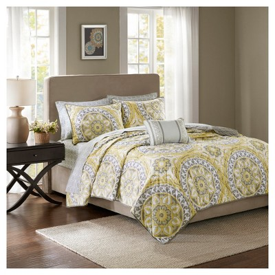Yellow Nepal Printed Quilt Set (Queen)8pc