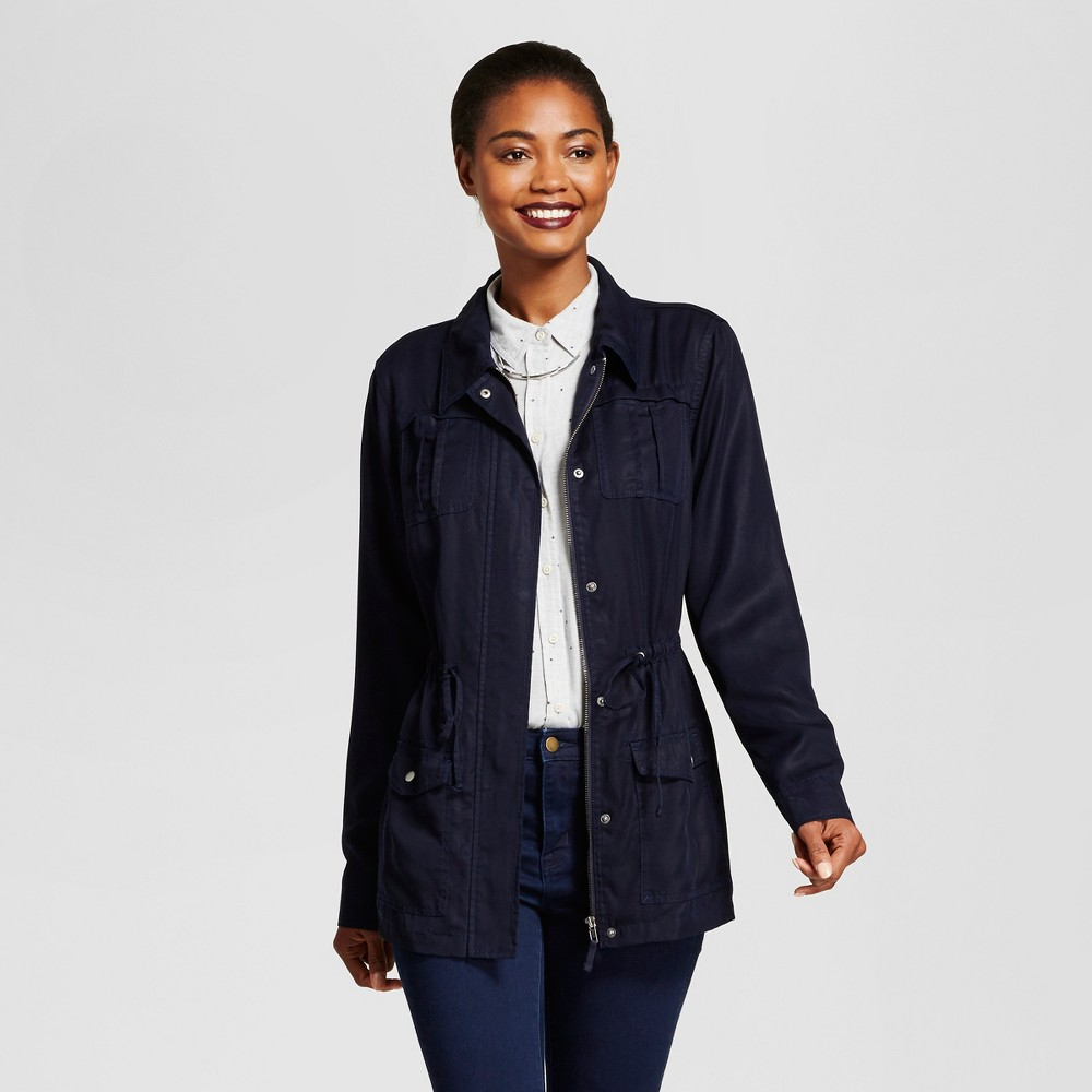 Womens Tencel Military Jacket - A New Day Navy S, Blue