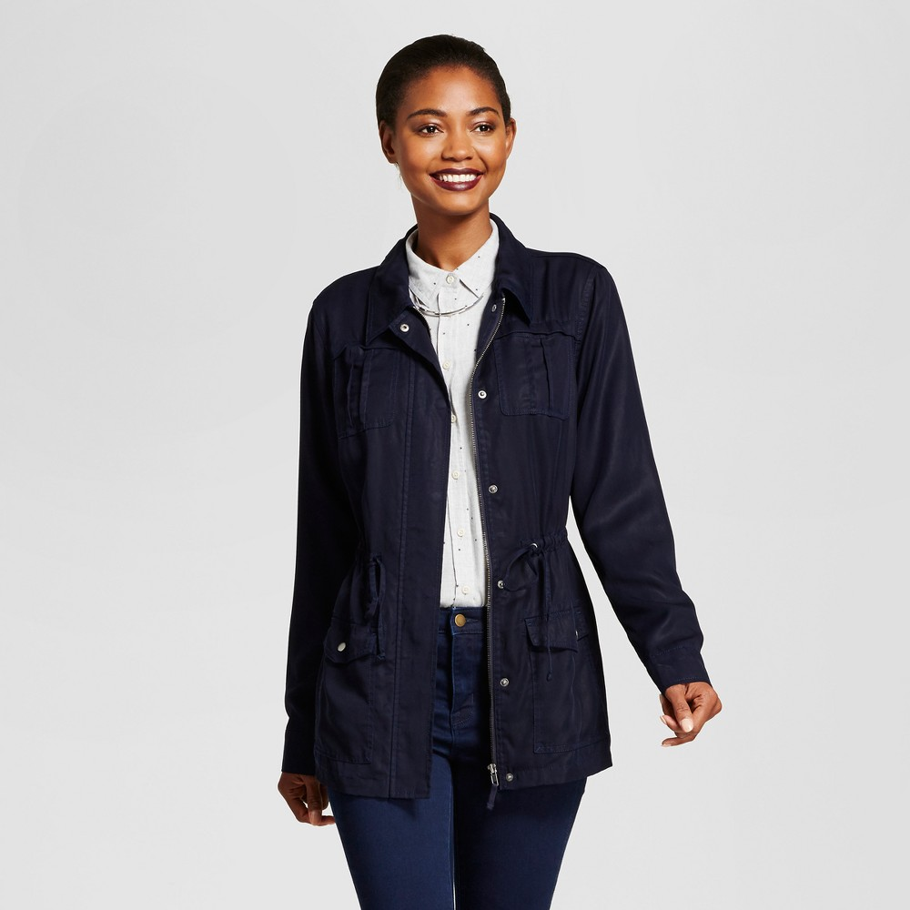 Womens Tencel Military Jacket - A New Day Navy M, Blue