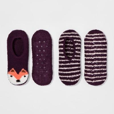 Women's 2-Pack Cozy Liner Fox Socks - Xhilaration™ - Purple One Size