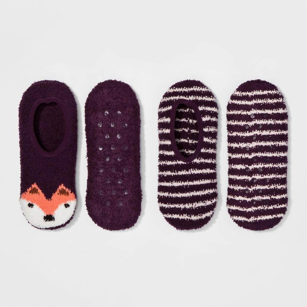 Womens 2-Pack Cozy Liner Fox Socks - Xhilaration - Purple One Size