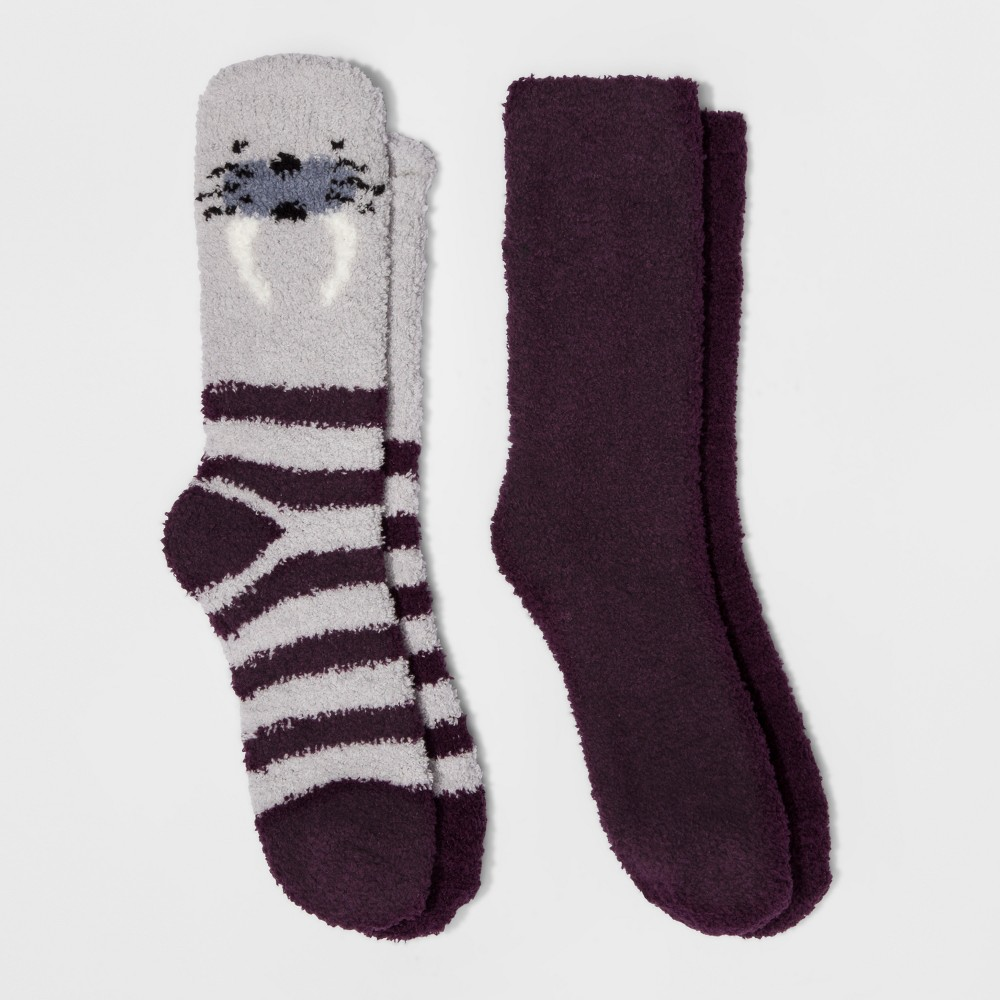 Womens 2-Pack Cozy Crew Walrus Socks - Xhilaration - Purple One Size