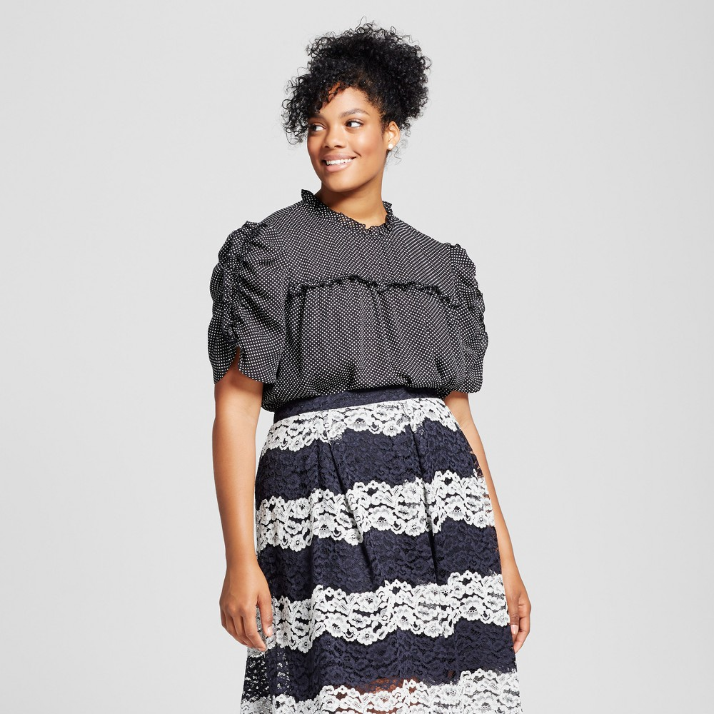 Womens Plus Size Drapery Baby Doll - Who What Wear Black Polka Dot X