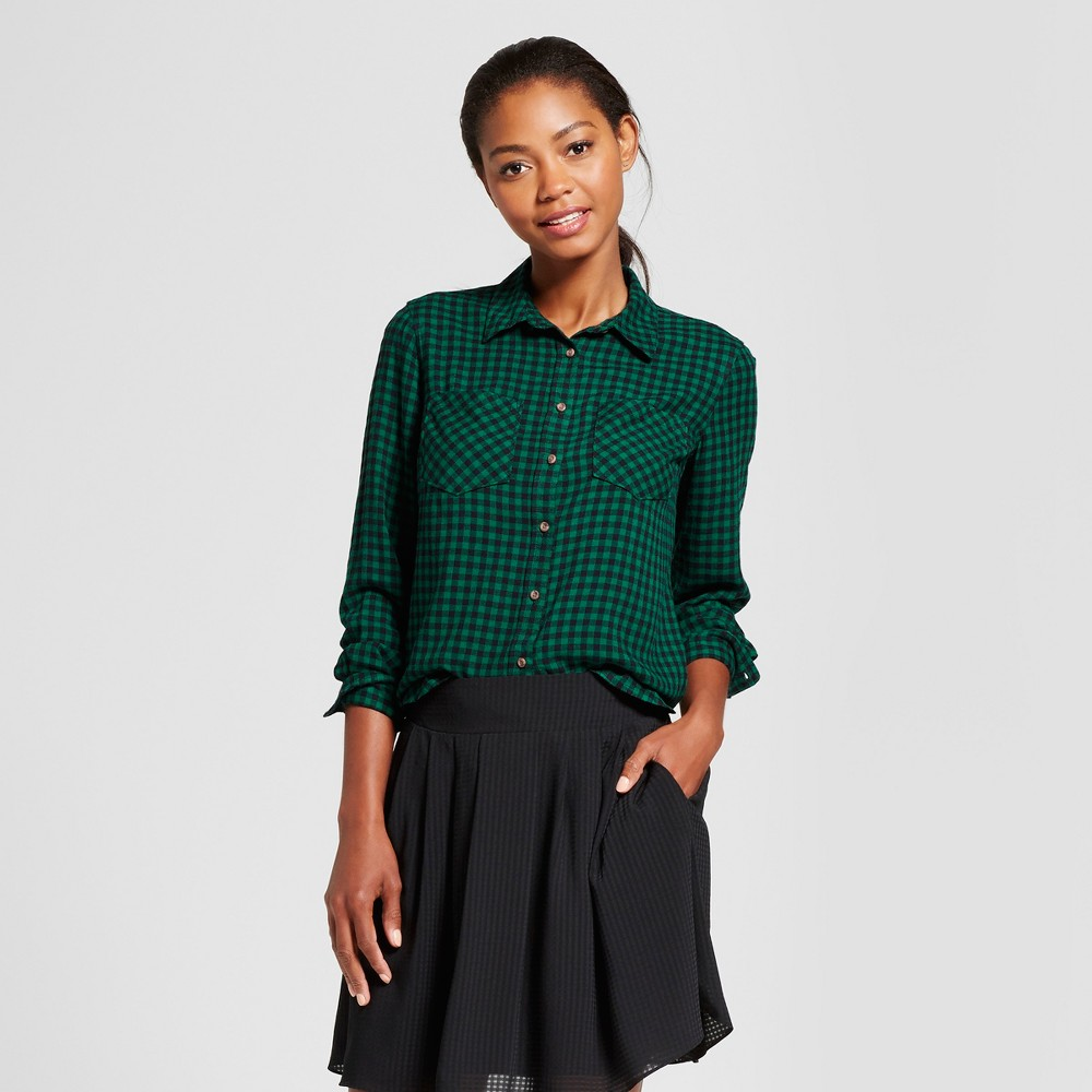 Womens Gingham Any Day Shirt - A New Day Green S