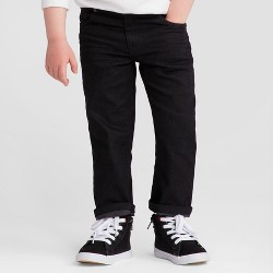 Toddler Boys' Straight Adjustable Waist Denim Pants - Cat & Jack™ Black