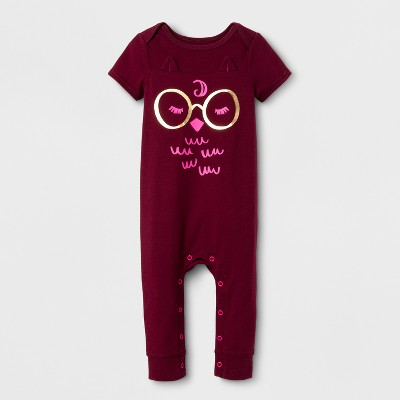 view Baby Girls' Owl Skinny Leg Romper - Cat & Jack Burgundy on target.com. Opens in a new tab.