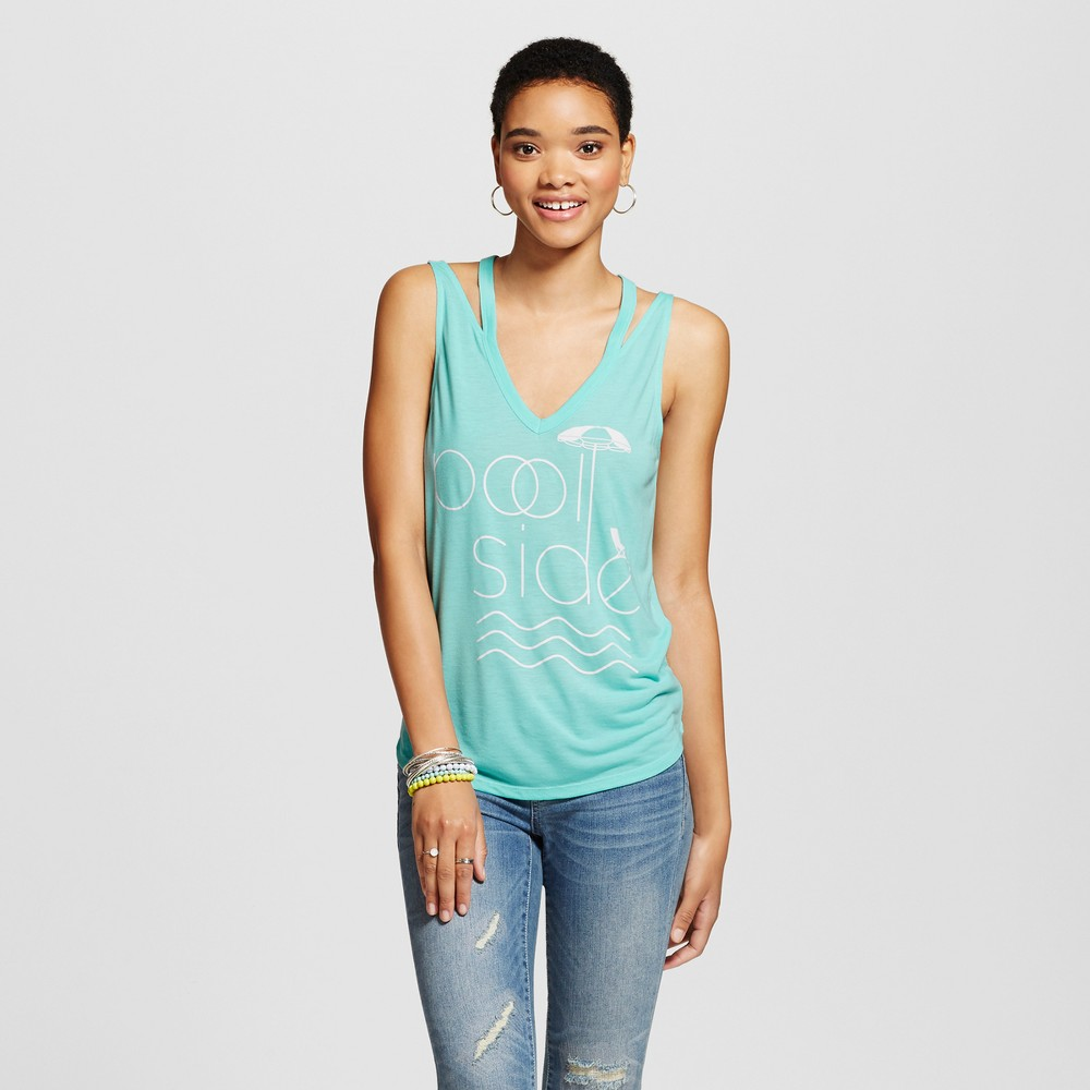 Womens Pool Side Cut Out Graphic Tank Top Turquoise XS - Fifth Sun (Juniors), Blue