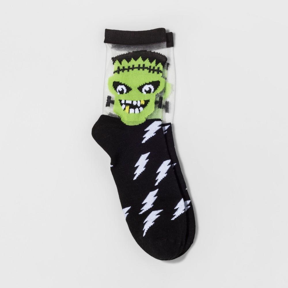 Womens Frankenstein Halloween Crew Socks - Merona Black One Size