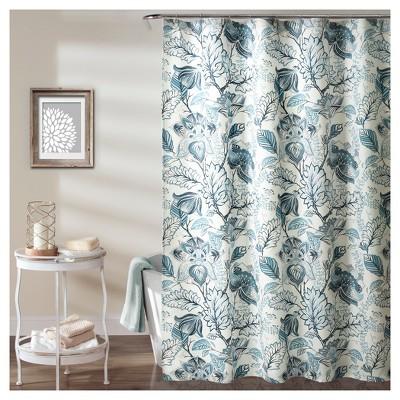 Cynthia Jacobean Shower Curtain Green - Lush Decor