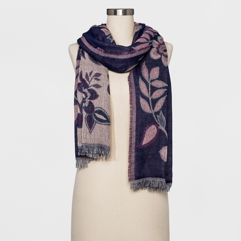 Womens Floral Jacquard Scarf - A New Day Navy (Blue)