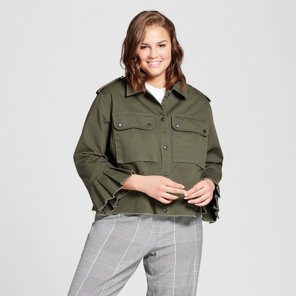Womens Plus Size Bell Sleeve Military Jacket - Who What Wear Olive 3X, Green