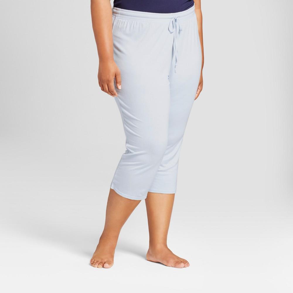 Womens Plus Size Pajama Pants Light Blue 2X