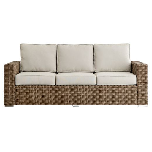 Riviera Pointe Wicker Patio Track Arm Sofa with Cushions - Mocha - Inspire Q