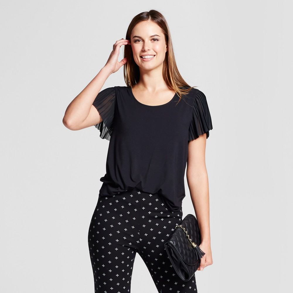 Womens Pleated Short Sleeve Blouse - A New Day Black M