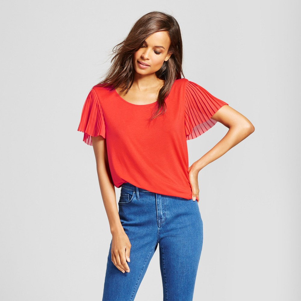 Womens Pleated Short Sleeve Blouse - A New Day Tomato (Red) M