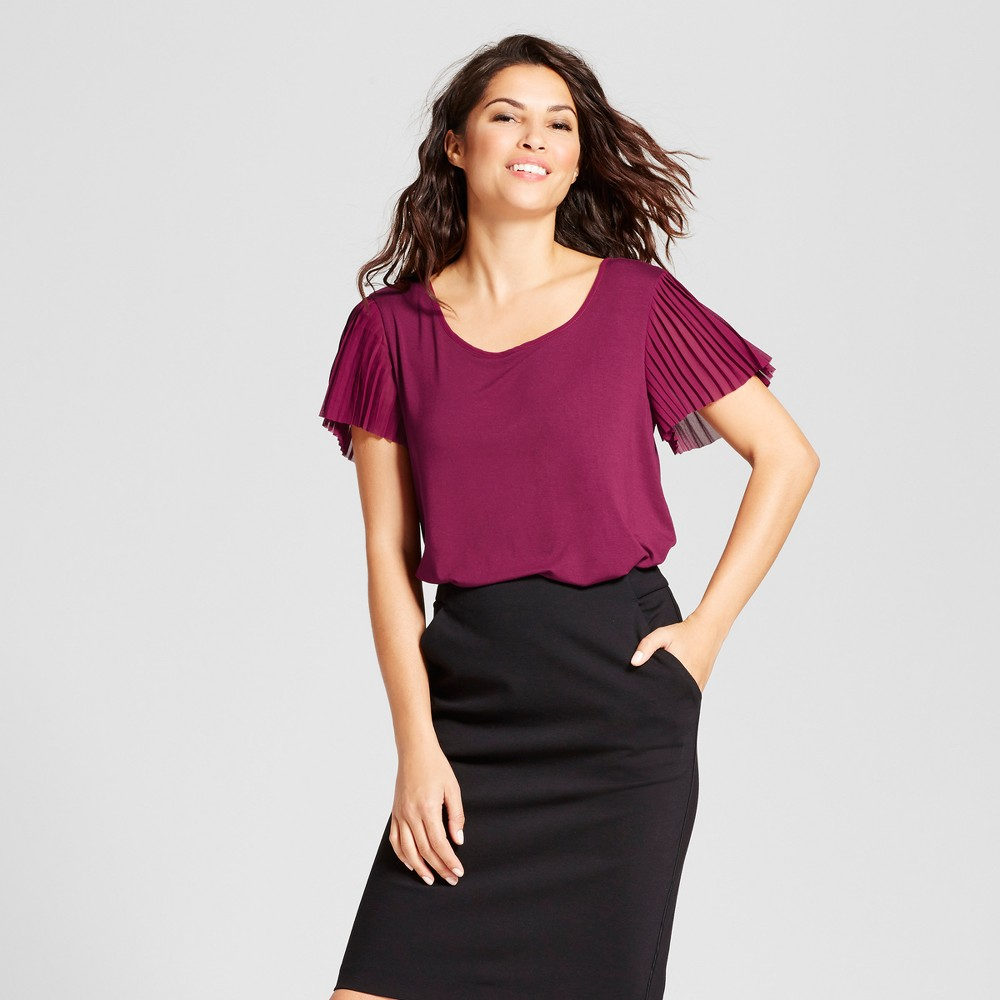 Womens Pleated Short Sleeve Blouse - A New Day Cherry (Red) M