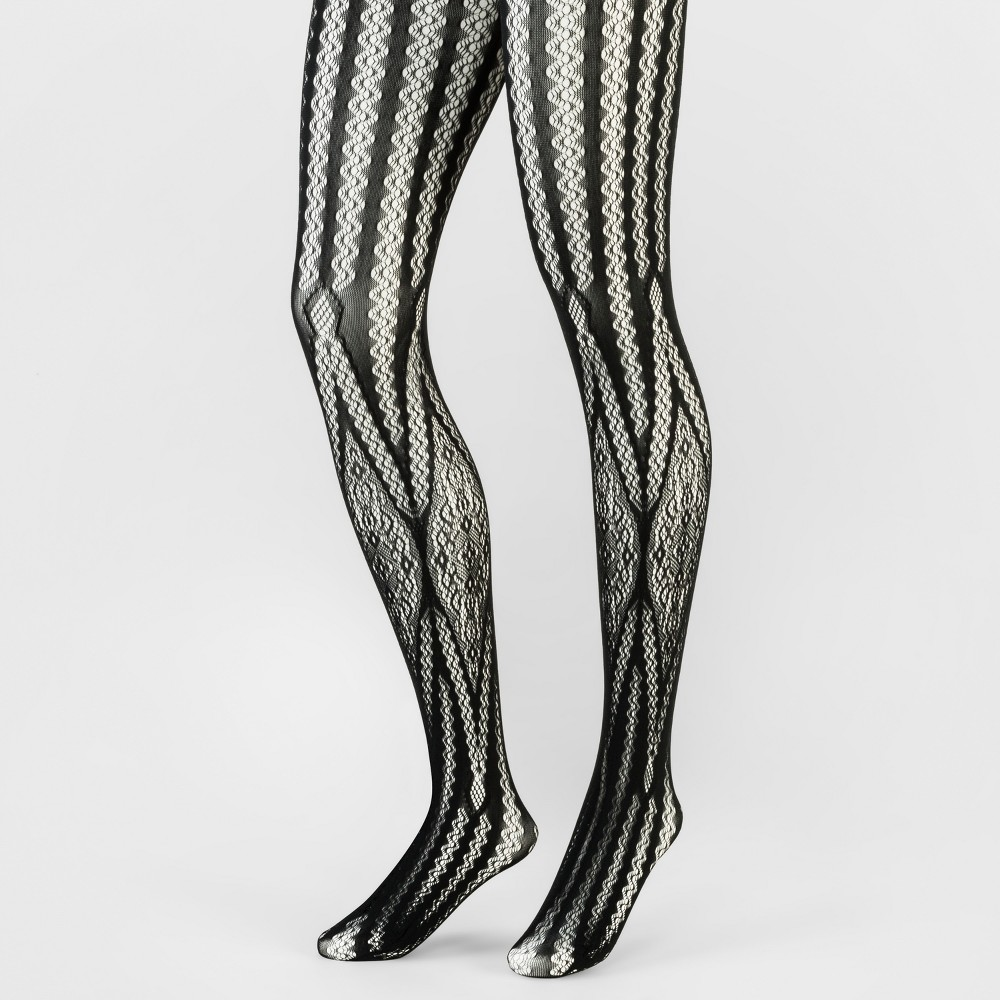 Womens Tights 1PP Lattice Net With Lace Tights - A New Day Black M/L