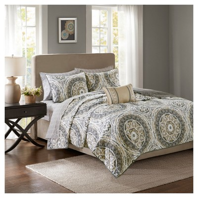 Taupe Nepal Printed Quilt Set (Queen)8pc