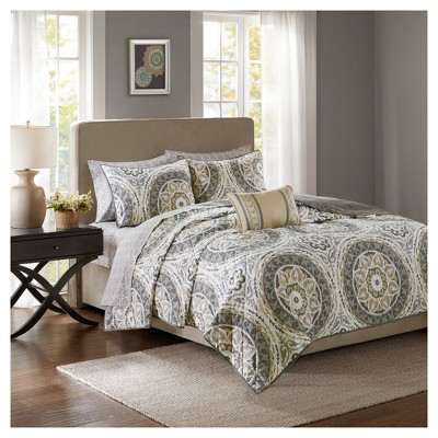 Taupe Nepal Printed Quilt Set (King)8pc