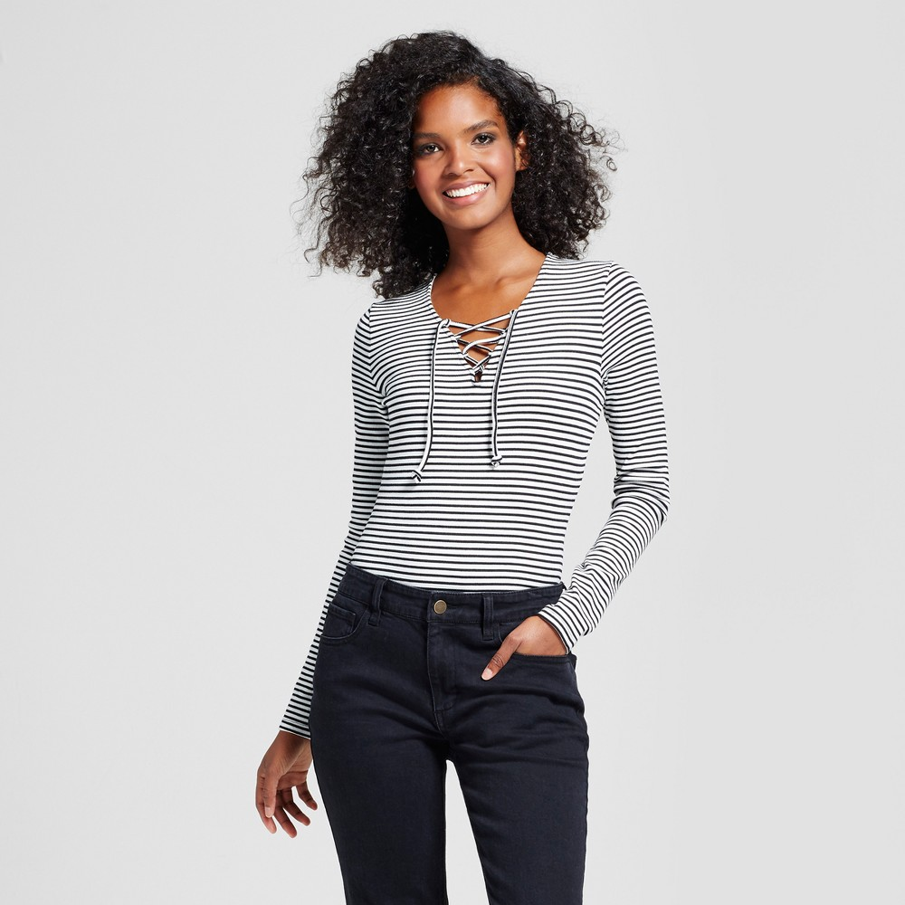 Womens Lace Up Bodysuit - Who What Wear White/Black Stripe Xxl