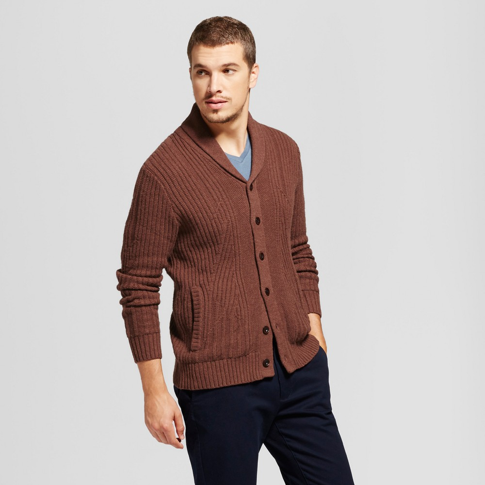 Mens Shawl Cable Cardigan - Goodfellow & Co Brown XL