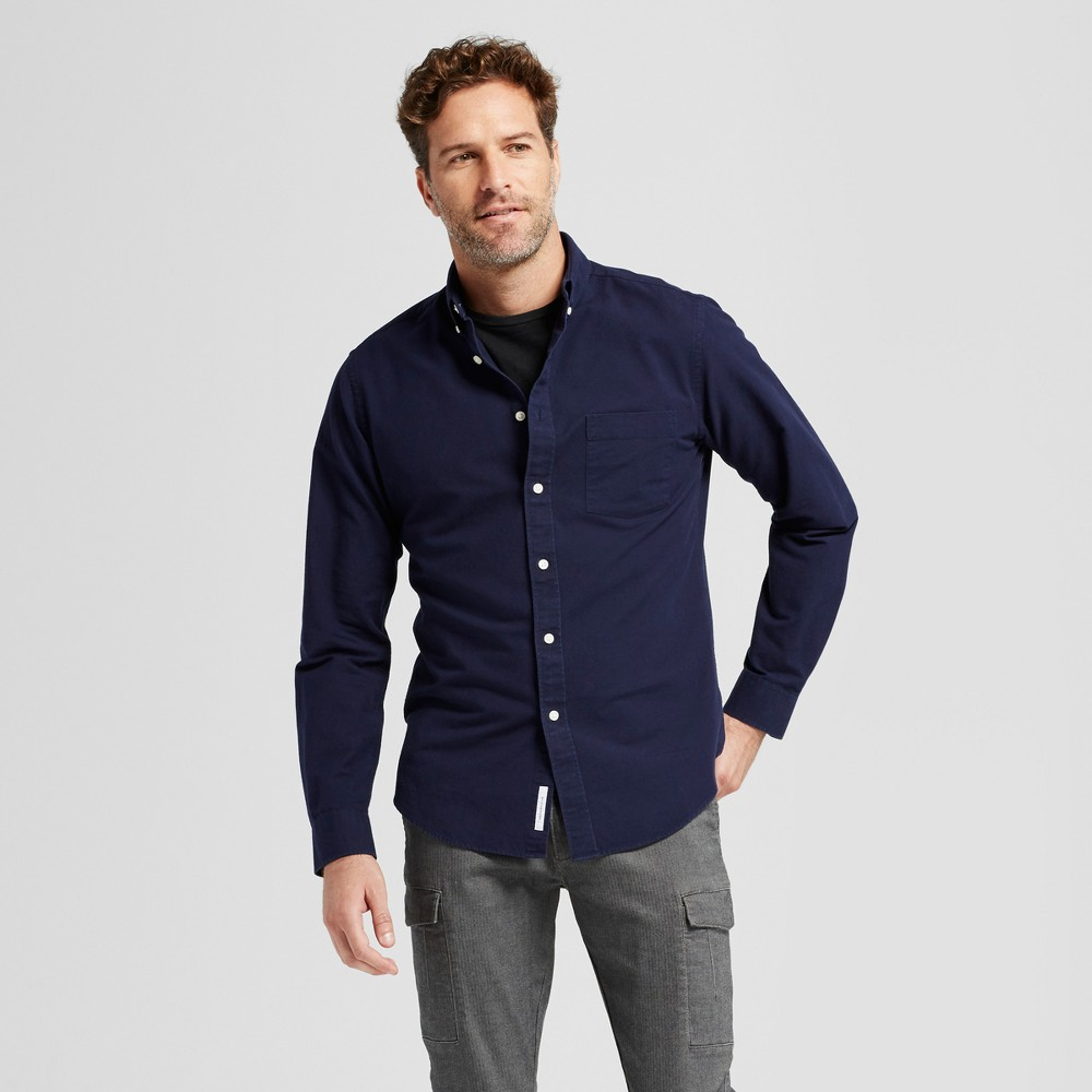 Mens Standard Fit Whittier Oxford Button Down Shirt - Goodfellow & Co Navy (Blue) L