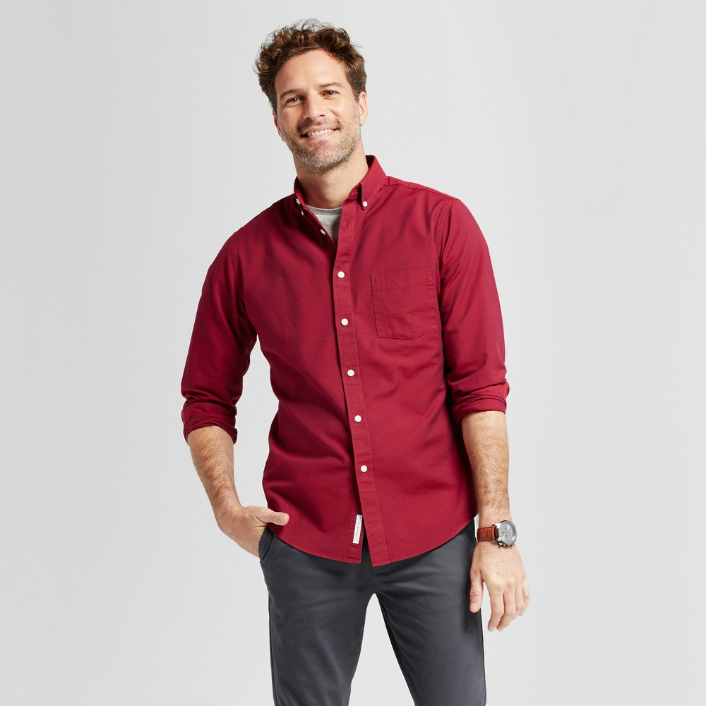Mens Standard Fit Whittier Oxford Button Down Shirt - Goodfellow & Co Red L