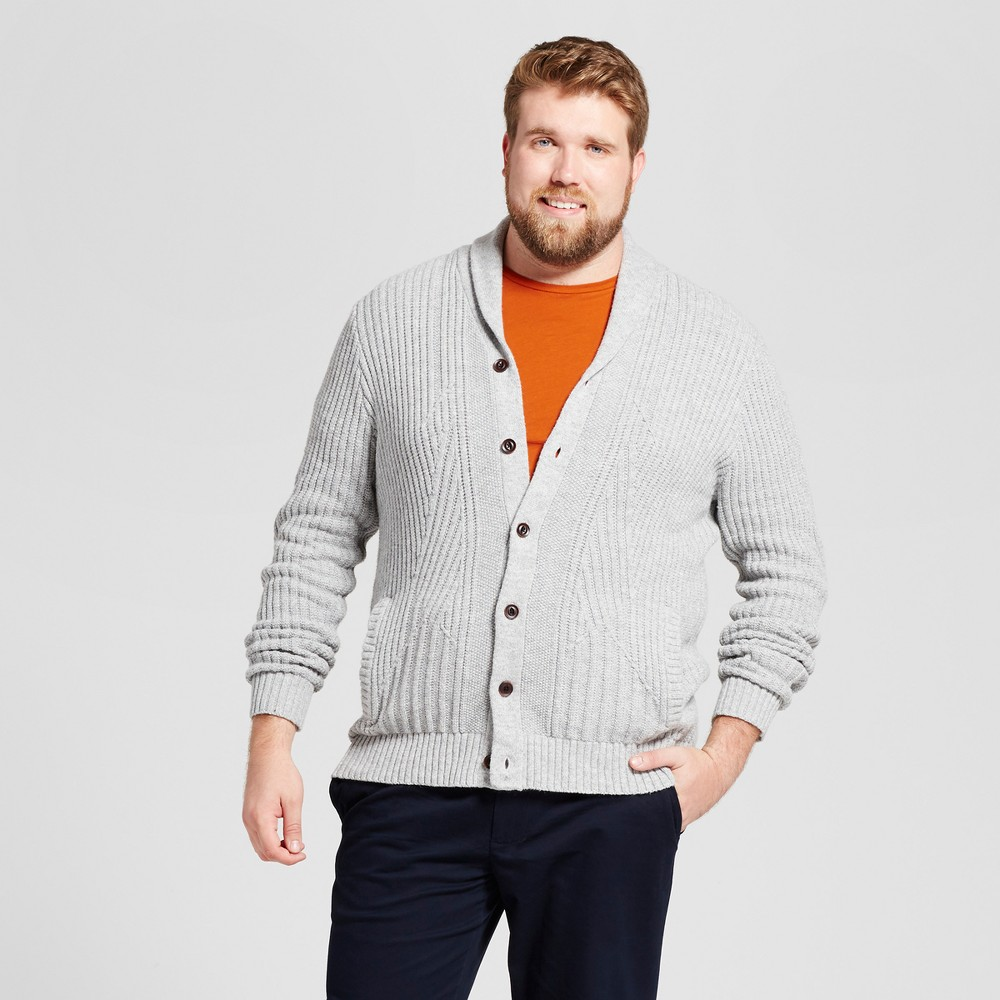Mens Big & Tall Shawl Cable Cardigan - Goodfellow & Co Gray LT