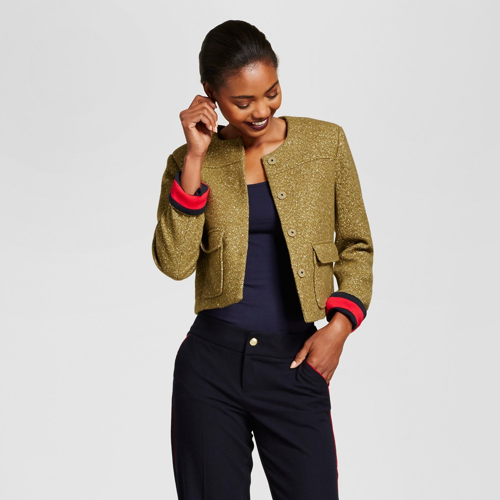 Womens Cropped Tweed Jacket - A New Day Olive 18, Green