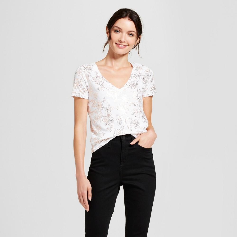 Womens Floral Vintage V-Neck T-Shirt - A New Day Rose Gold S, Pink