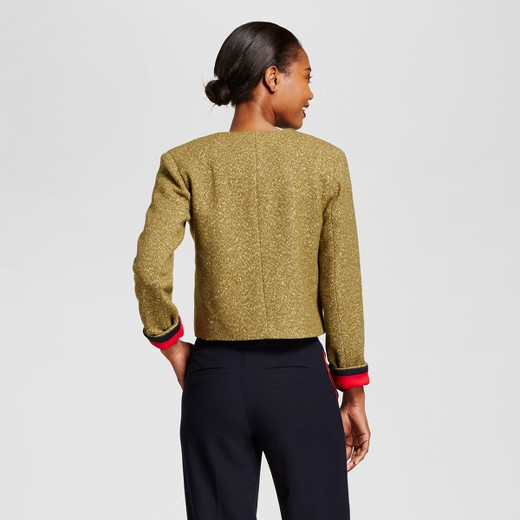 Women's Cropped Tweed Jacket - A New Day™ Olive : Target