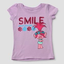 Toddler Girls' Trolls Smile Dance Hug Sing Short Sleeve T-Shirt - Lilac
